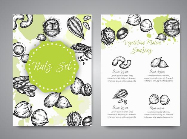 Conjunto de porcas e sementes de coleção de cartões mão ilustrações desenhadas com elementos de nozes e sementes