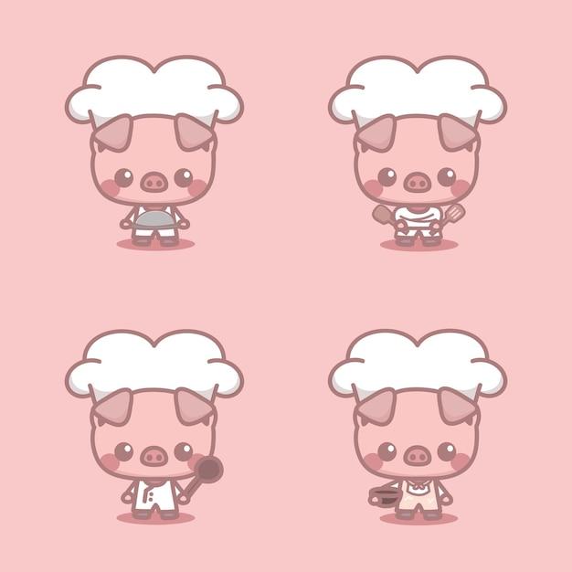 Conjunto de porco bonito como personagem do chef. ilustração em vetor kawaii cartoon