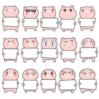 Conjunto de porco bonito segurando um cartaz em branco