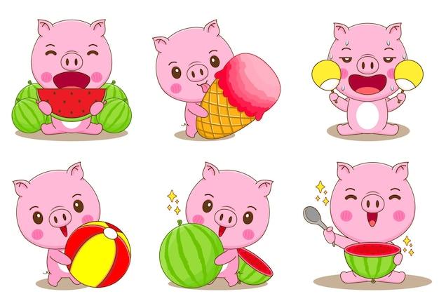 Conjunto de porco coala com ilustração dos desenhos animados do conceito