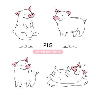 Conjunto de porcos de doodle em várias poses isolados