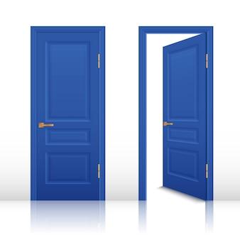 Conjunto de porta aberta e fechada de casa