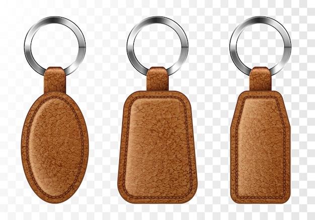 Conjunto de porta-chaves de couro, porta-chaves marrom.