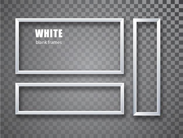 Conjunto de porta-retratos branco realista e vazio