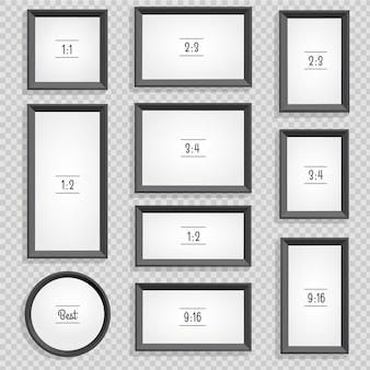 Conjunto de porta-retratos ou molduras pretas