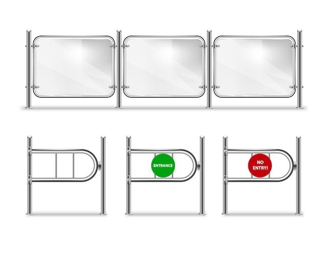 Conjunto de portão de entrada com seta verde e placa vermelha, catracas para a loja e balaustrada de vidro com corrimão de metal definido.