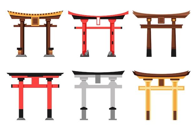Conjunto de portão torii de design plano