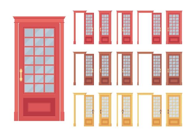 Conjunto de portas clássicas, madeira com vidro, entrada para edifício, sala