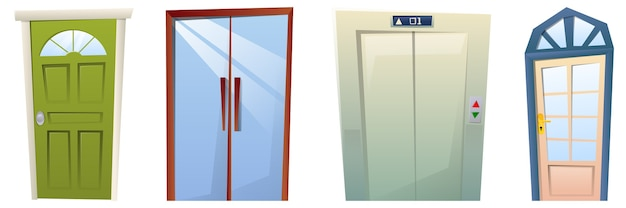Conjunto de portas de desenho animado, portas da frente modernas e elevadores
