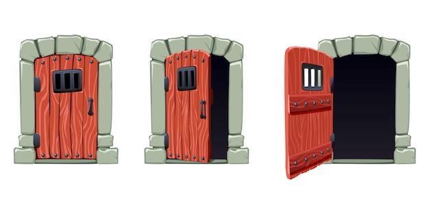 Conjunto de portas de desenho animado