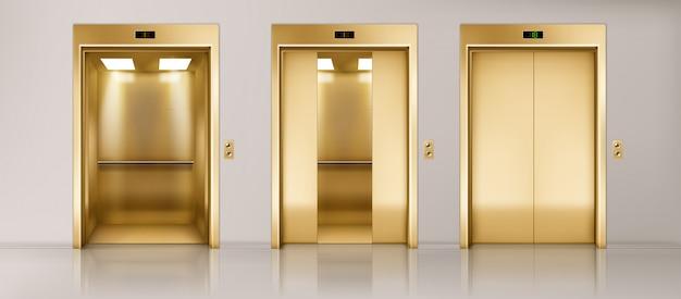 Conjunto de portas de elevador dourado