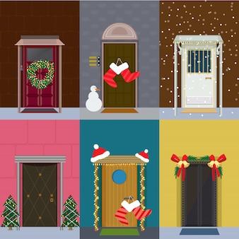 Conjunto de portas de entrada planas de natal