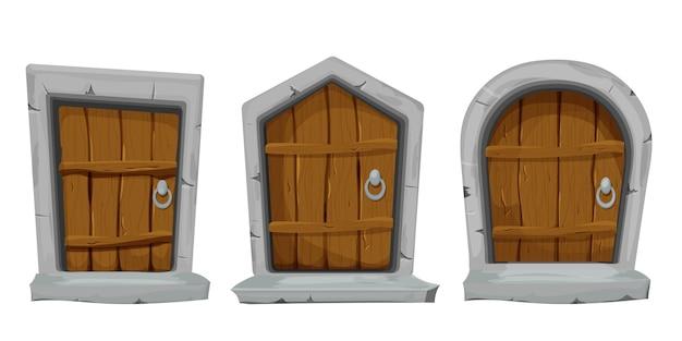 Conjunto de portas de madeira com arco de decoração de pedra em estilo cartoon, isolado no branco
