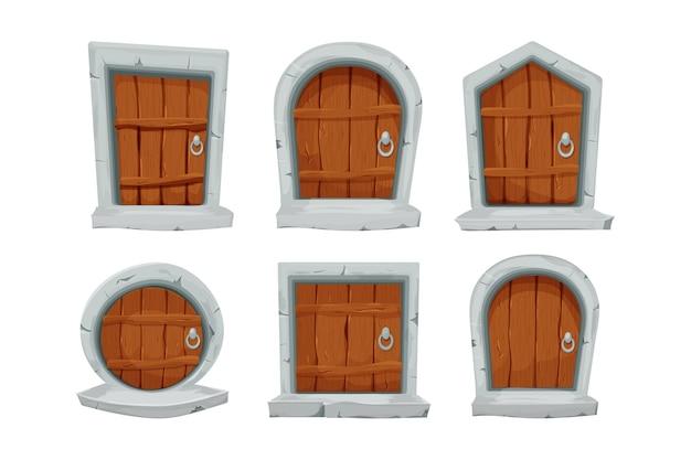 Conjunto de portas de madeira com arco de decoração de pedra em estilo cartoon