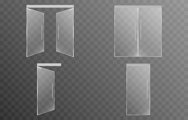 Conjunto de portas de vidro em um fundo transparente isolado