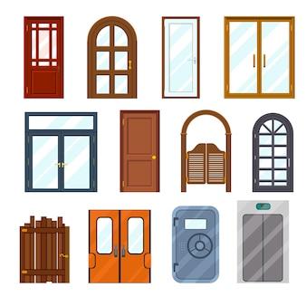 Conjunto de portas dianteiras coloridas.