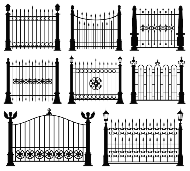 Conjunto de portas e cercas de ferro preto e branco
