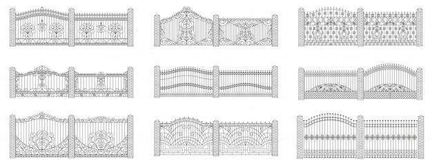 Conjunto de portas e cercas forjadas. design linear. ilustração do contorno isolada no branco.