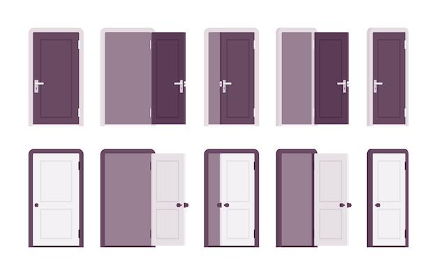 Conjunto de portas em branco e preto