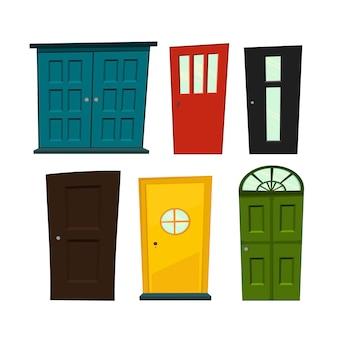 Conjunto de portas em estilo cartoon