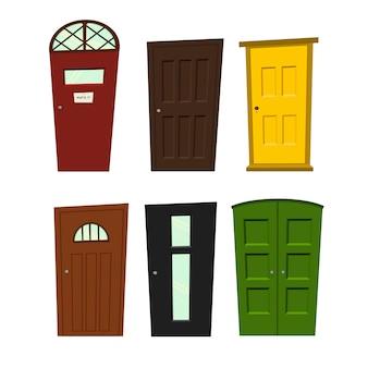 Conjunto de portas em um fundo branco para construção e design.