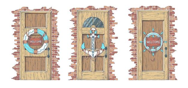 Conjunto de portas. uma porta com âncora, uma porta com bóia salva-vidas e uma porta com volante.