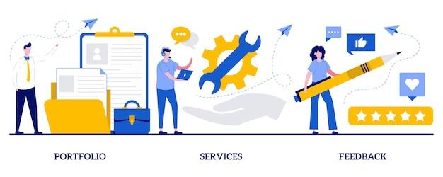Conjunto de portfólio, serviços, feedback, barra de menu do site corporativo