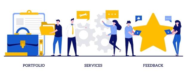 Conjunto de portfólio, serviços, feedback, currículo de candidato, serviço de pesquisa de emprego na internet, avaliação de cliente