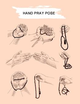 Conjunto de pose de oração de mão