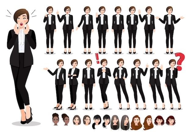 Conjunto de pose de personagem de desenho animado de empresária. mulher de negócios bonita em terno preto de estilo escritório.