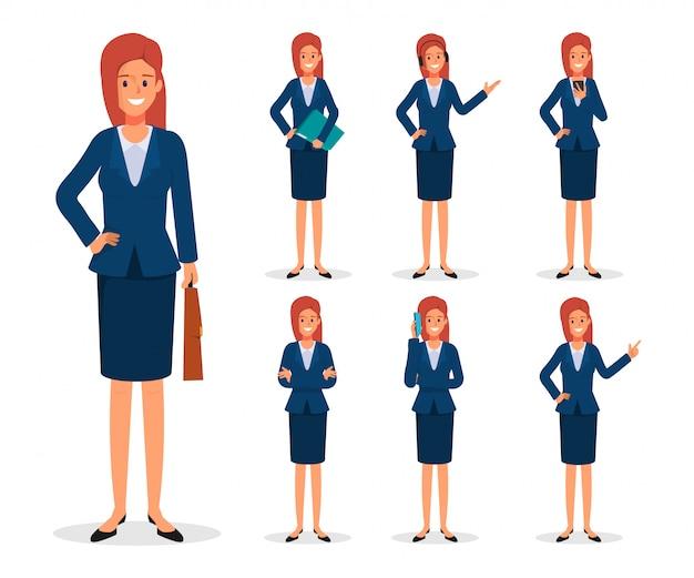 Conjunto de pose de personagem de mulher de negócios.