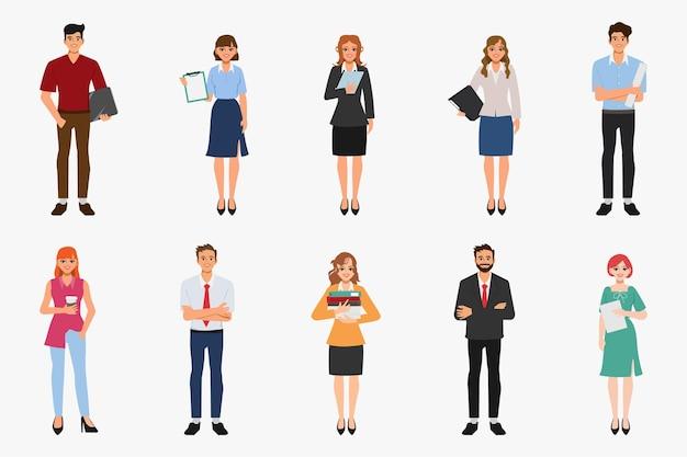 Conjunto de pose de personagem de retrato de executivos
