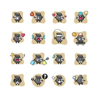 Conjunto de pose de personagem kawaii de bilhar de 8 bolas