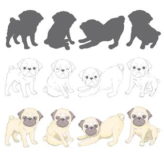 Conjunto de poses de cães