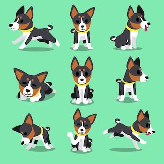 Conjunto de poses de cão basenji de personagem dos desenhos animados