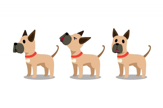 Conjunto de poses de cão dinamarquês de personagem de desenho animado