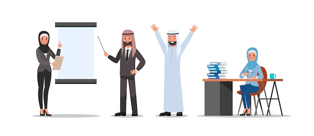 Conjunto de poses de caracteres de pessoas de negócios