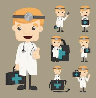 Conjunto de poses de caracteres médicos