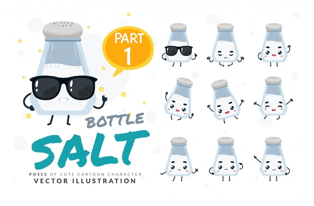 Conjunto de poses de desenhos animados de garrafa de sal.