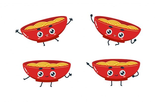 Conjunto de poses de desenhos animados de macarrão.