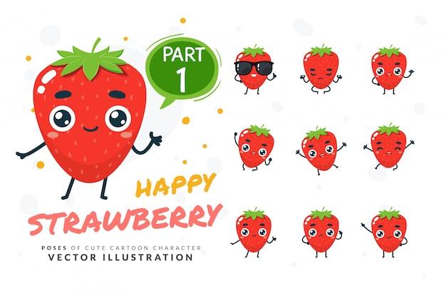 Conjunto de poses de desenhos animados de morango.