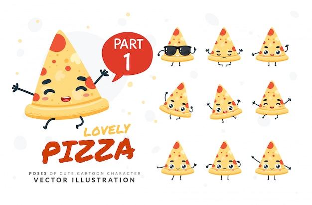 Conjunto de poses de desenhos animados de pizza.
