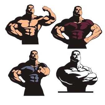 Conjunto de poses de fisiculturista, fisiculturista forte e musculoso, enorme homem posando