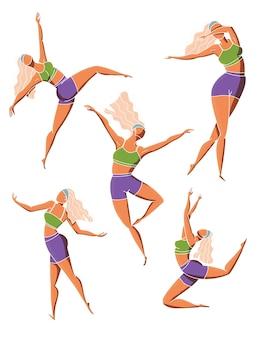 Conjunto de poses de garota dançando. personagem feminina em diferentes posições coreográficas em roupas esportivas. ilustração colorida.