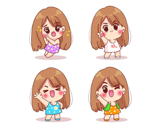 Conjunto de poses de garota fofa e ilustração de desenho em expressões faciais