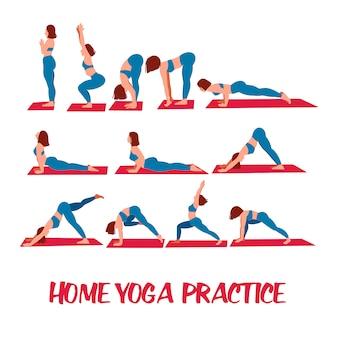 Conjunto de poses de ioga. a mulher pratica ioga. ilustração vetorial