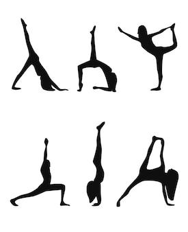 Conjunto de poses de ioga com silhuetas negras