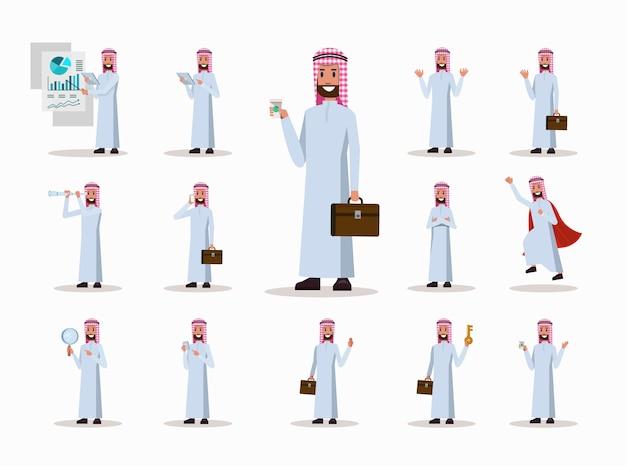 Conjunto de poses de personagem de empresário árabe