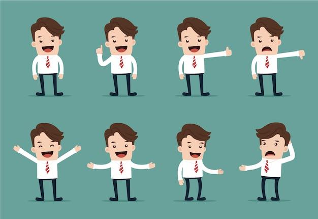 Conjunto de poses de personagem de empresário