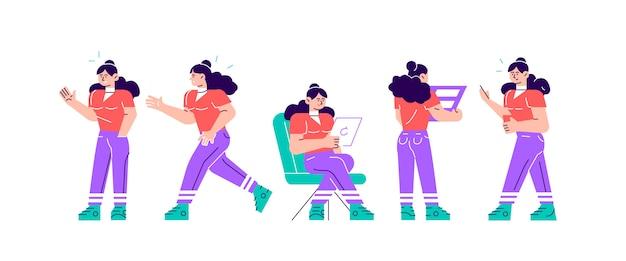 Conjunto de poses de personagens de negócios e ações. uma empresária bonita em pé com os braços cruzados, falando no telefone, encolher os ombros, segurando o dedo. ilustração de design moderno estilo simples